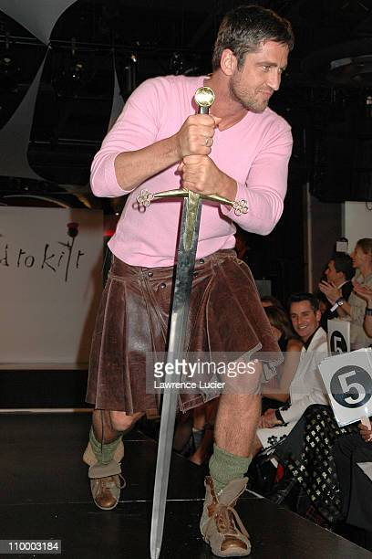Gerard Butler during Johnnie Walker Presents Dressed to Kilt Arrivals and Runway at Copacabana in New York City New York United States