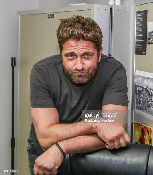 Gerard Butler in the green room at The Den Of Thieves special screening at Regal South Beach on January 10 2018 in Miami Florida