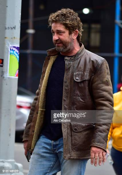 Gerard Butler is seen in Soho on February 15 2018 in New York City