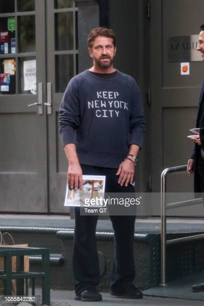 Gerard Butler is seen on October 31 2018 in New York City