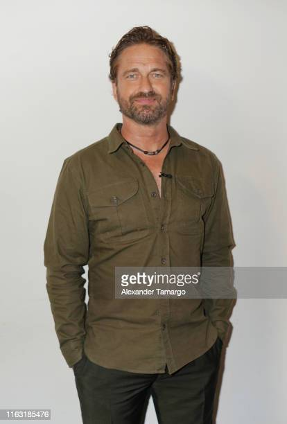 Gerard Butler is seen on the set of Despierta America at Univision Studios to promote the film Angel Has Fallen on August 22 2019 in Miami Florida