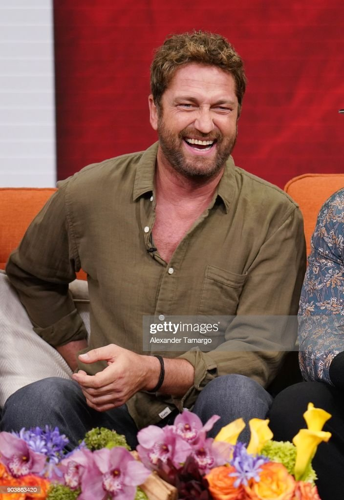 Gerard Butler is seen on the set of 'Despierta America' at Univision Studios to promote the film 'Den of Thieves' on January 11, 2018 in Miami, Florida.