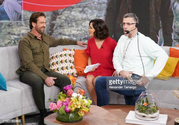 Gerard Butler Karla Martinez and Javi Aviles are seen on the set of Despierta America at Univision Studios to promote the film Angel Has Fallen on...