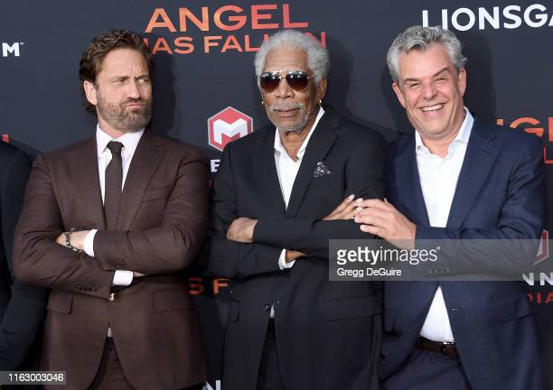Gerard Butler Morgan Freeman and Danny Huston arrive at the LA Premiere Of Lionsgate's Angel Has Fallen at Regency Village Theatre on August 20 2019...