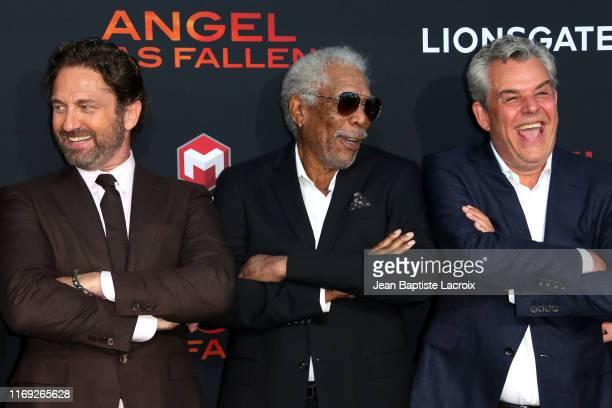 Gerard Butler Morgan Freeman and Danny Huston attend the LA Premiere of Lionsgate's Angel Has Fallen at Regency Village Theatre on August 20 2019 in...