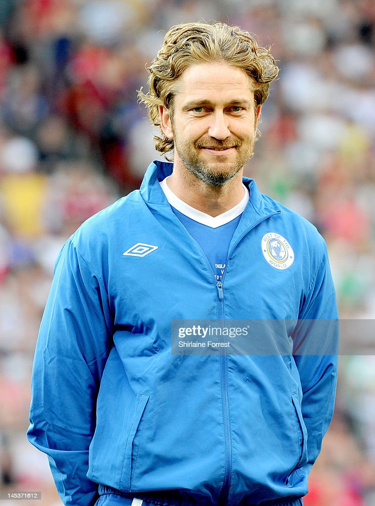 Gerard Butler plays in the charity football event Soccer Aid 2012 to raise funds for UNICEF on May 27, 2012 in Manchester, United Kingdom.