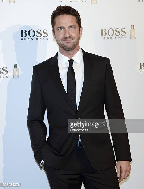 Gerard Butler presents the Boss Bottled fragrance 'Man Of Today' Campaign at the NH Collection Eurobuilding Hotel on February 3 2016 in Madrid Spain