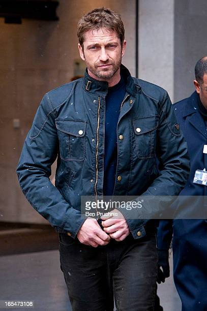 Gerard Butler sighted departing BBC Radio One on April 4 2013 in London England