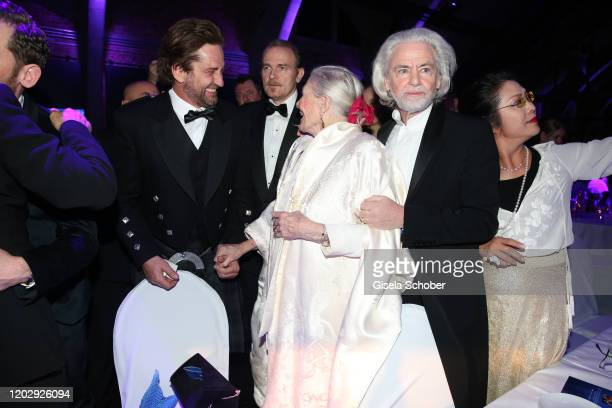 Gerard Butler, Vanessa Redgrave and Hermann Buehlbecker during the Cinema For Peace Gala at Westhafen Event & Convention Center on February 23, 2019...