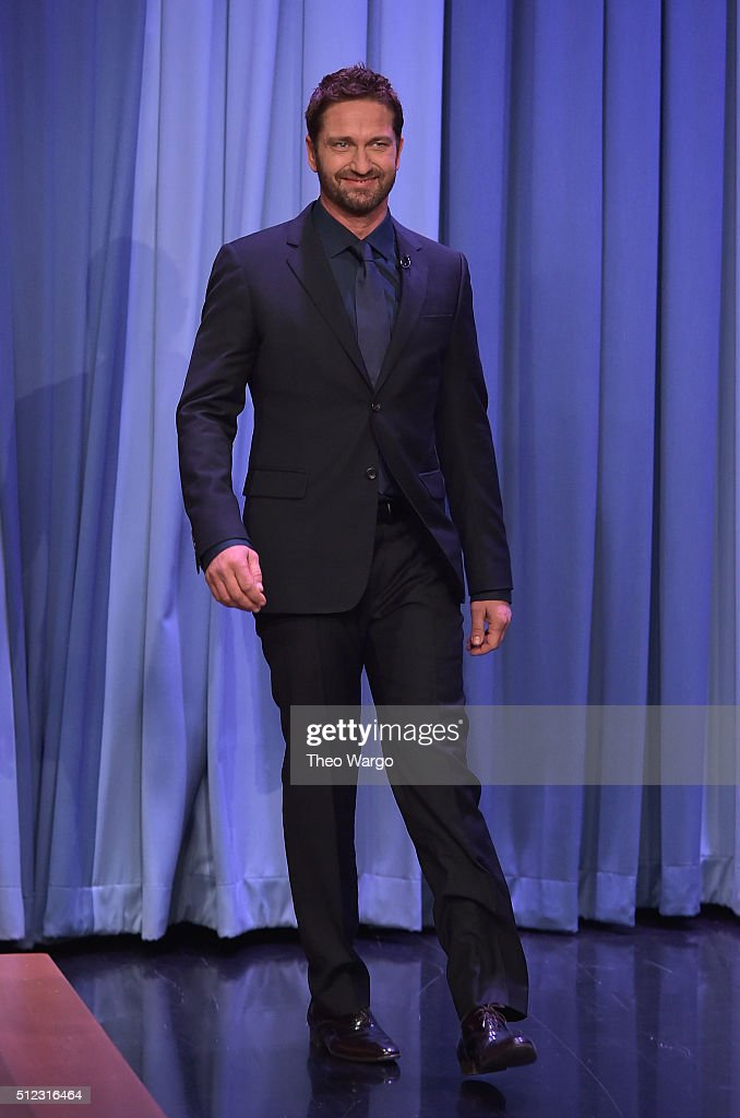 Gerard Butler Visits 'The Tonight Show Starring Jimmy Fallon' at NBC Studios on February 25, 2016 in New York City.