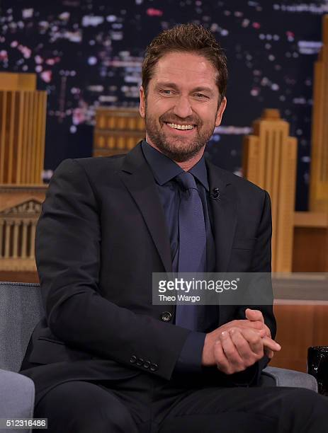 Gerard Butler Visits The Tonight Show Starring Jimmy Fallon at NBC Studios on February 25 2016 in New York City