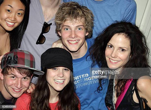 Gerard Canonico Alexandra Socha Hunter Parrish and Mary Louise Parker pose with the cast backstage on Hunter's opening night in Spring Awakening on...