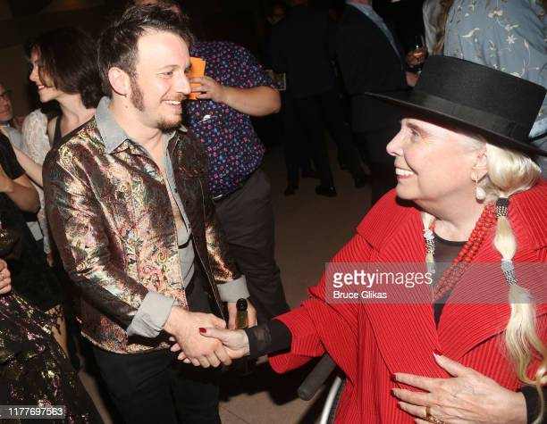 """Gerard Canonico and Joni Mitchell chat at the opening night of the new musical """"Almost Famous"""" at The Old Globe Theatre on September 27, 2019 in San..."""