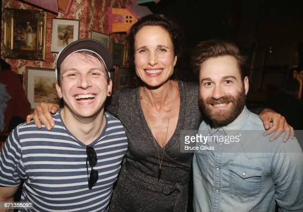 Gerard Canonico Andie MacDowell and Michael Fatica pose backstage at the hit musical based on the film Groundhog Day on Broadway at The August Wilson...