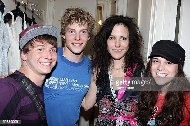 Gerard Canonico Mary Louise Parker Hunter Parrish and Alexandra Socha pose backstage on Hunter's opening night in Spring Awakening on Broadway at The...