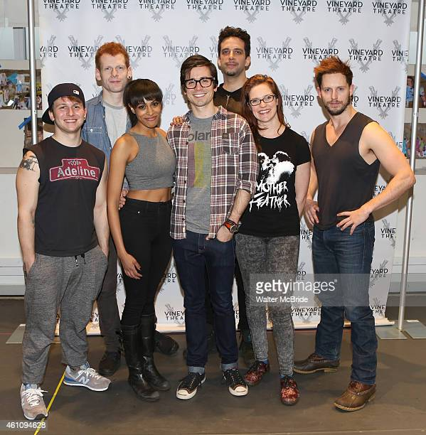 Gerard Canonico, Max Chernin, Nicolette Robinson, Matt Doyle, Nick Cordero, Grace McLean and Andrew Call attend the meet and greet for the Vineyard...
