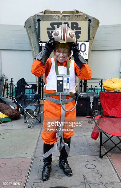 Gerard Christian Zacher dressed in the uniform of 'Star Wars' character camps out at TCL Chinese Theatre prior to the Dec 17 opening of 'Star Wars...