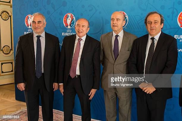 Gerard Collomb Allain Jupp and Michel Platini attend the EURO 2016 Steering Committee Meeting Lyon on March 12 2015 in Lyon France
