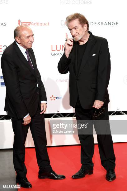 Gerard Collomb and Eddy Mitchell attend opening ceremony of 9th Film Festival Lumiere In Lyon on October 14 2017 in Lyon France