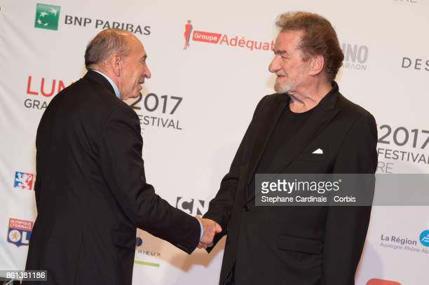 Gerard Collomb and Eddy Mitchell attend the Opening Ceremony of the 9th Film Festival Lumiere on October 14 2017 in Lyon France