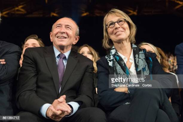 Gerard Collomb and Francoise Nyssen attend the Opening Ceremony of the 9th Film Festival Lumiere on October 14 2017 in Lyon France