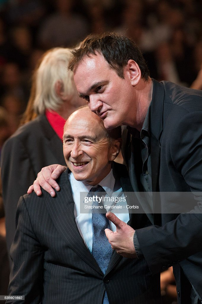Gerard Collomb and Quentin Tarantino attend the Tribute to Jean Paul Belmondo and Opening Ceremony of the Fifth Lumiere Film Festival, in Lyon.