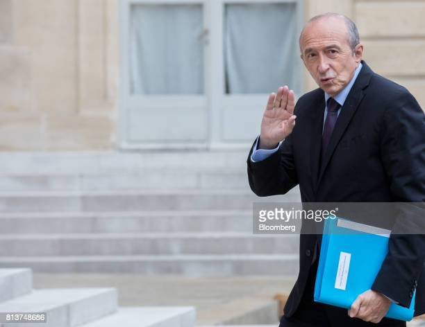 Gerard Collomb France's interior minister arrives for a FrancoGerman joint cabinet meeting at the Elysee Palace in Paris France Thursday July 13 2017...