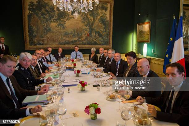 Gerard Collomb the Minister of Interior is photographed for Paris Match with the directors of antiterrorism cells during a lunch at the Ministry of...