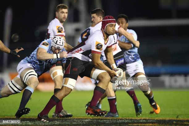 Gerard Cowley-Tuioti of North Harbour is tackled during the round five Mitre 10 Cup match between Northland and North Harbour at Toll Stadium on...