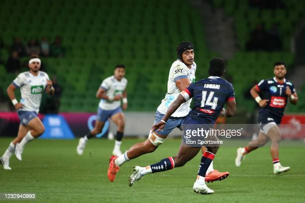 Gerard Cowley-Tuioti of the Blues runs the ball during round one of the Super Rugby Trans Tasman match between the Melbourne Rebels and Blues at AAMI...