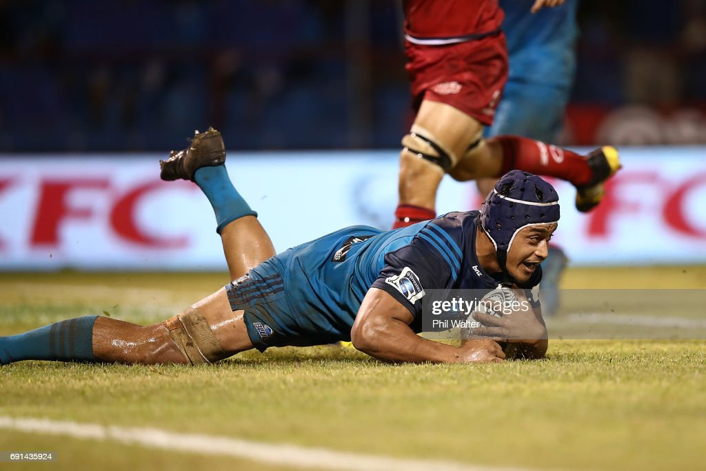 Gerard Cowley-Tuioti of the Blues scores a try during the round 15 Super Rugby match between the Blues and the Reds at Apia Park National Stadium on June 2, 2017 in Apia, Samoa.