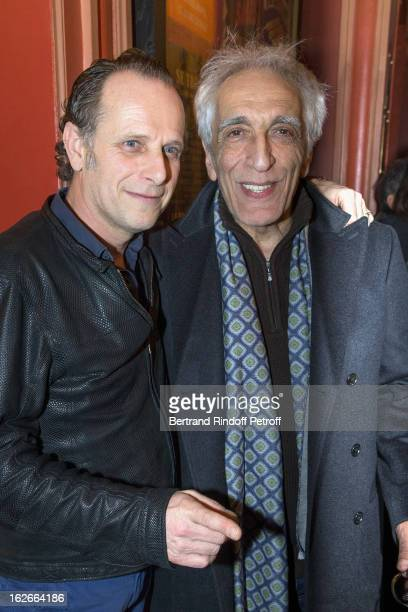 Gerard Darmon and Charles Berling after their 200th performance of the play 'Inconnu A Cette Adresse' at Theatre Antoine on February 25 2013 in Paris...