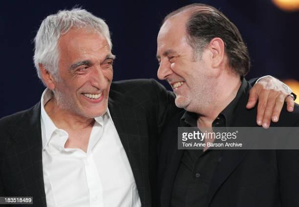 Gerard Darmon and Michel Delpech during La Fete de la Chanson Francaise Taping January 11 2006 at Zenith in Paris France