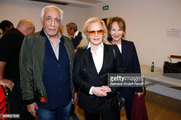 Gerard Darmon Sylvie Vartan and Nathalie Baye pose after Sylvie Vartan performs at Le Grand Rex on April 14 2018 in Paris France