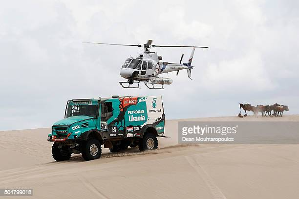 Gerard De Rooy of the Netherlands Darek Rodewald of Poland and Moisievse Torrallardona of Spain of PETRONAS TEAM DE ROOY IVECO and in truck POWERSTAR...