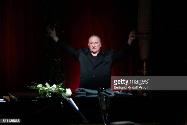 Gerard Depardieu acknowledges the applause of the audience at the end of 'Depardieu Chante Barbara' at Le Cirque d'Hiver on November 7 2017 in Paris...