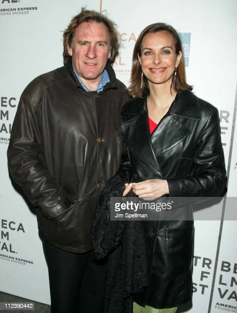 "Gerard Depardieu and Carole Bouquet during 3rd Annual Tribeca Film Festival - ""Red Lights"" Premiere at UA Battery Park Stadium in New York City, New..."