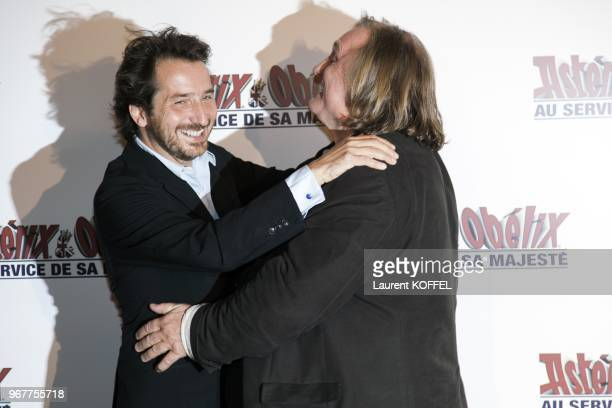 "Gerard Depardieu and Edouard Baer attend at ""Asterix et Obelix: au service de sa majeste"" film premiere at ""Le Grand Rex"" on September 30, 2012 in..."