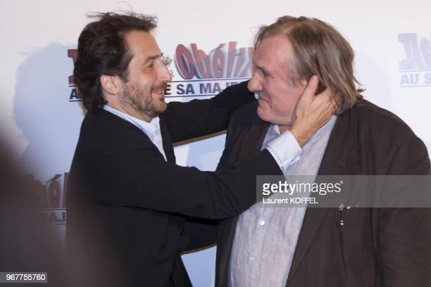 Gerard Depardieu and Edouard Baer attend at 'Asterix et Obelix au service de sa majeste' film premiere at 'Le Grand Rex' on September 30 2012 in...
