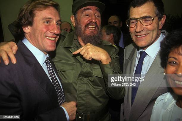 Gerard Depardieu and French food processing leader Gerard Bourgoin with Fidel Castro on November 27 1996 in Havana Cuba