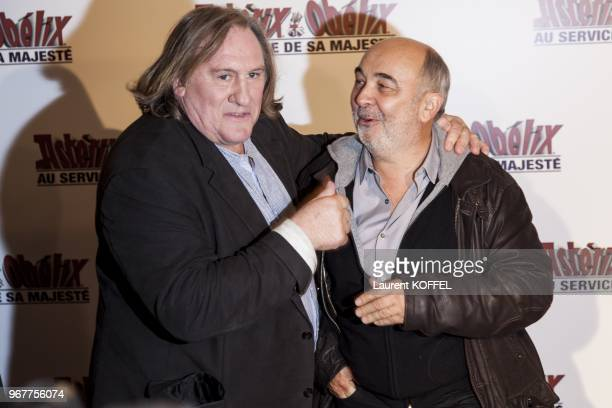 Gerard Depardieu and Gerard Jugnot attend at 'Asterix et Obelix au service de sa majeste' film premiere at 'Le Grand Rex' on September 30 2012 in...
