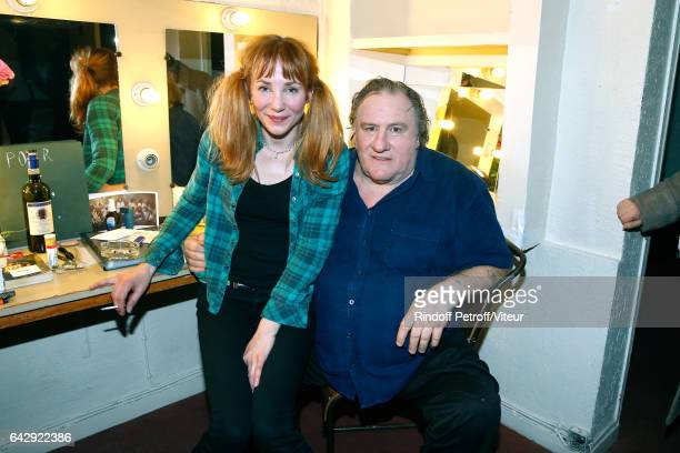 Gerard Depardieu and his daughter Julie Depardieu pose Backstage after Gerard Depardieu sings Barbara accompanied on the piano of Barbara by Gerard...