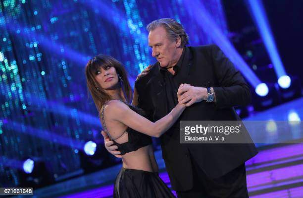 Gerard Depardieu and his partner dancer Sara Di Vaira perform on the Italian TV show 'Ballando Con Le Stelle' at Auditorium Rai on April 22, 2017 in...