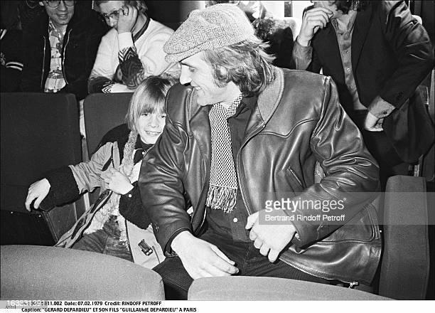 Gerard Depardieu and his son Guillaume Depardieu at Theatre Bobino in Paris.
