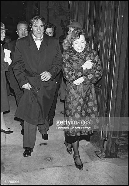 """Gerard Depardieu and his wife Elisabeth at the Match """"Trophy"""" party in Paris Opera House in 1984."""