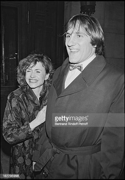 Gerard Depardieu and his wife Elisabeth at the Match Trophy party in Paris Opera House in 1984