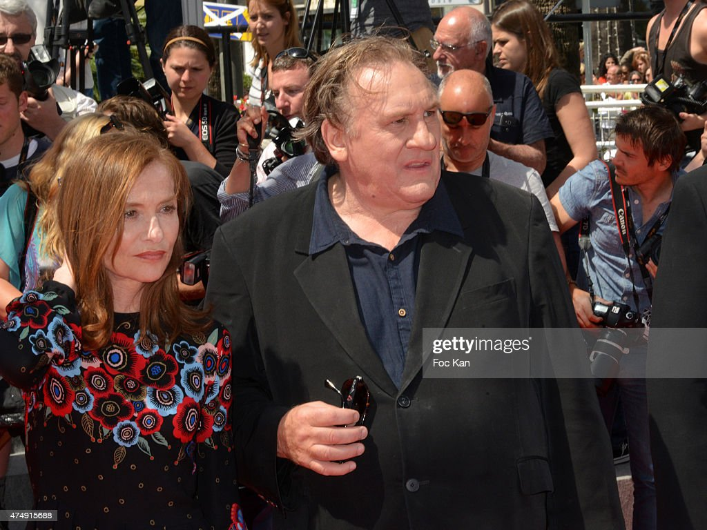 Gerard Depardieu (R) and Isabelle Huppert attend the'Valley Of Love' Premiere during the 68th annual Cannes Film Festival on May 22, 2015 in Cannes, France.