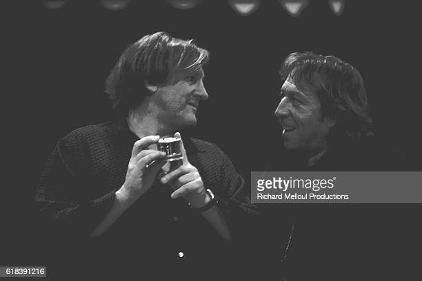 Gerard Depardieu and JeanMarie Dupuis rehearse off stage