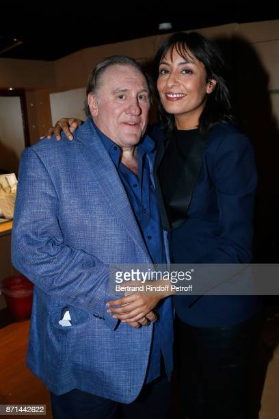Gerard Depardieu and Journalist Leila Kaddour pose after 'Depardieu Chante Barbara' at Le Cirque d'Hiver on November 6 2017 in Paris France