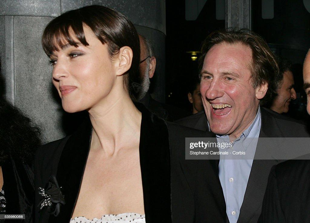 Gerard Depardieu and Monica Bellucci attend the premiere of movie 'Combien tu m'aimes?'